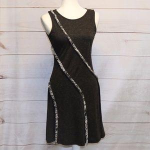 Mystree Grey Sleeveless Dress With Fringe Size S